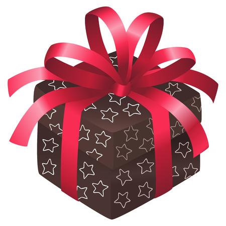 caja navidad: Cuadro de Navidad marr�n con estrellas blancas y un arco rojo Vectores