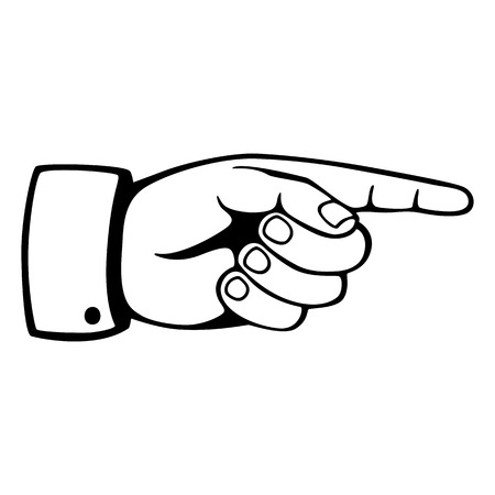 hand pointing: Pointing hand sign in black and white Illustration
