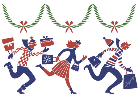 3 stylized figures shopping in the christmas rush