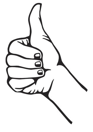 okey: Hand in black and white gesturing thumb up Illustration
