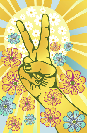Hand gesturing symbol of peace with flowers and sunbeams Stock Vector - 5921538