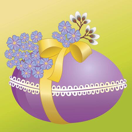 Huevo de Pascua con cinta y flores Foto de archivo - 6401972