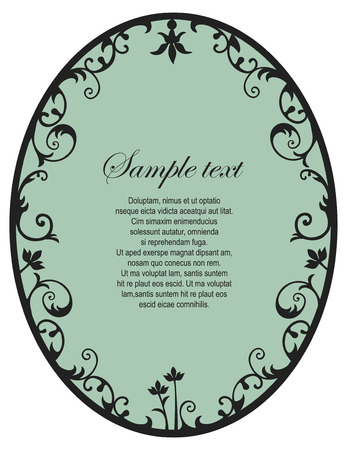 rounded: Black floral retro frame with copy space
