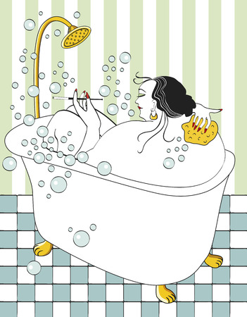 Woman taking bath with bubbles and tiled floor Vector