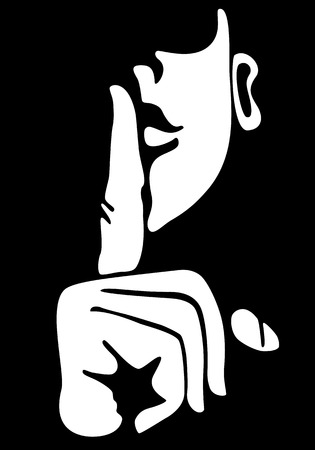 gestures: Gesture with finger on lips Illustration