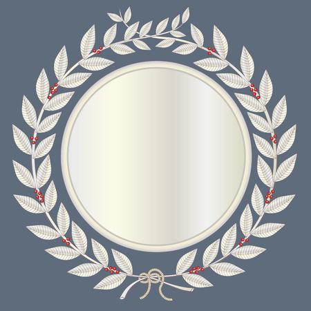 Laurel wreath in silver with red laurel berries Stock Vector - 6767654