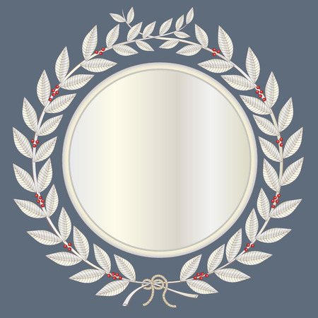 gold string: Laurel wreath in silver with red laurel berries