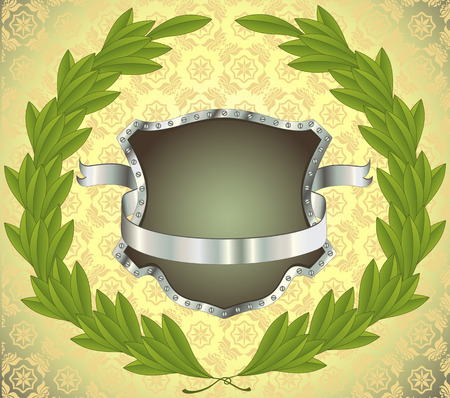 Shield with silver banner and laurel wreath. Seamless pattern on background. All on separate layers Vector