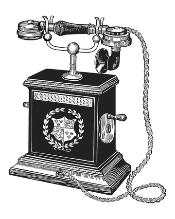 illustration of an antique telephone isolated on white background
