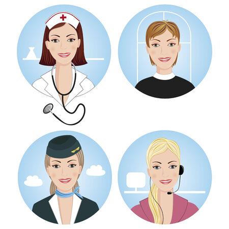 azafata de vuelo: Conjunto de cuatro mujeres profesionales  Vectores