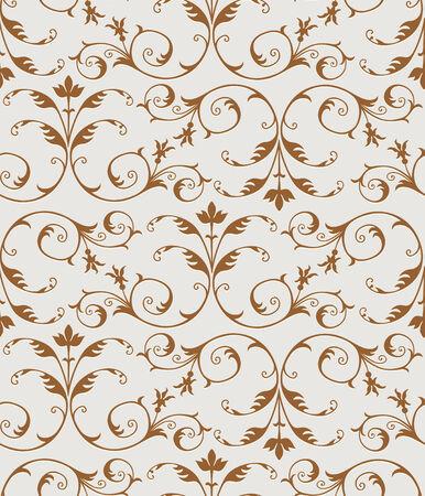 Elegant golden floral pattern, Seamless  Vector
