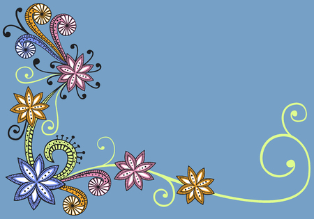 Psychedelic floral background with copy space Illustration