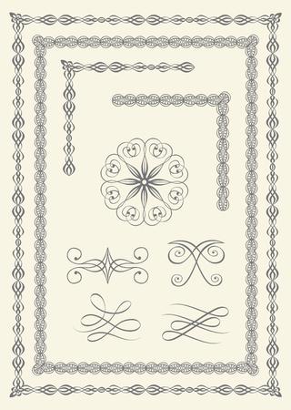 calligraphy frame: Conjunto de las fronteras de la elegantes y emblemas  Vectores
