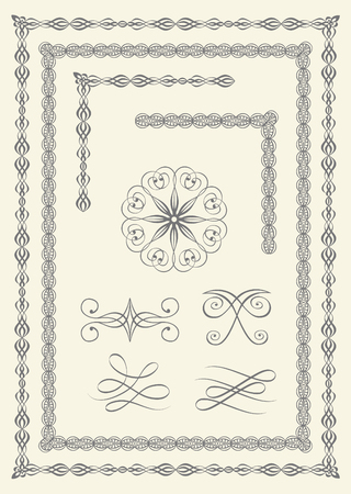Set of elegant borders and emblems