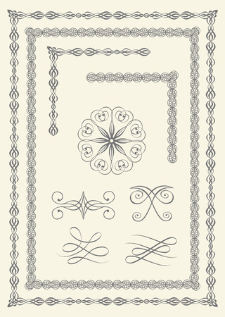 Collection of elegant borders and emblems