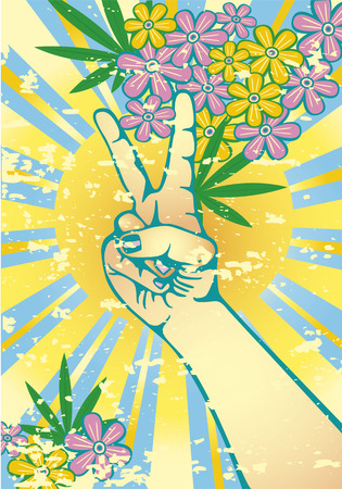 psychedelic background: Hand gesturing symbol of peace with flowers sun and marijuana, leaves Illustration