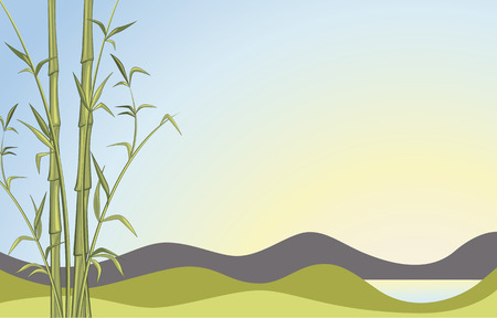 Bamboo background with beautiful landscape view Illustration