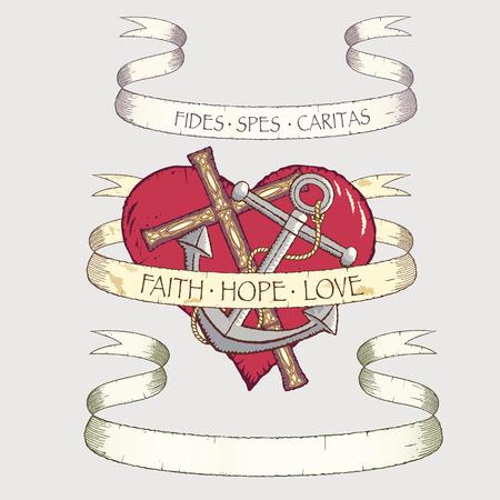 esperanza: Antiguos pergaminos con Cruz, anclaje y coraz�n. Todos los objetos pueden utilizarse por separado.