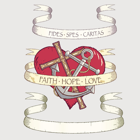 Antique scrolls with cross, anchor and heart. All objects can be used separately.