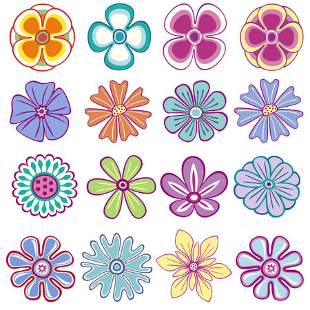 stylistic: Collection of single flowers Illustration