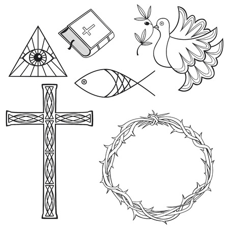 crown of thorns: Collection of relisious symbols
