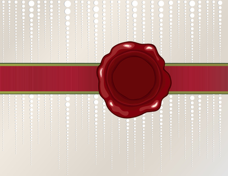 Christmas wax seal with silk ribbon on shiny background Vector
