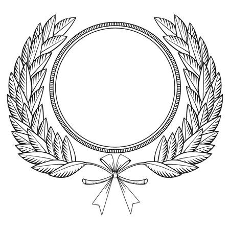 laurel leaf: Corona de laurel con estilo medalla y arco-grabado