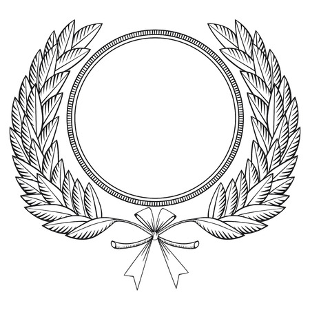 laurel branch: Laurel wreath with medal and bow- woodcut style