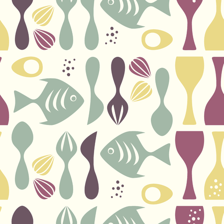 50s: Seamless pattern kitchen - retro style