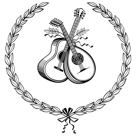 lute: Laurel wreath with guitar and lute Illustration
