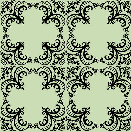 Seamless damask pattern in green and black.