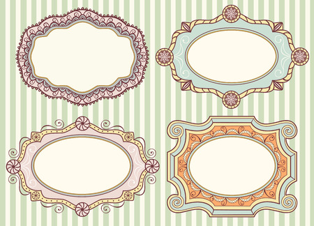 oval shape: Collection of 4 cute vintage labels Illustration