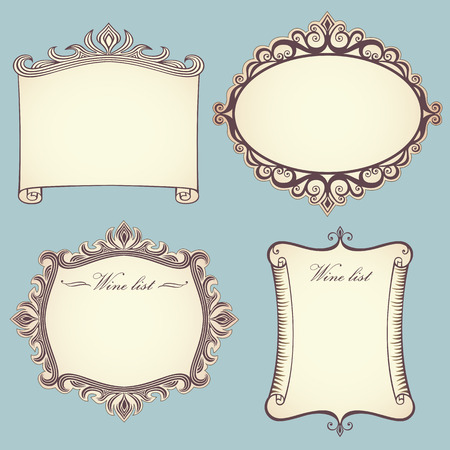 Collection of 4 different vintage frames or labels Stock Vector - 8667240