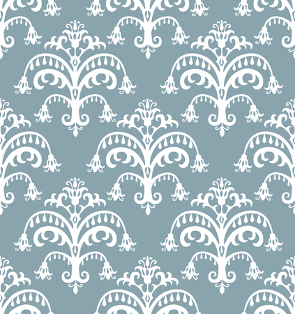 Seamless baroque pattern. White on beatiful blue background Vector