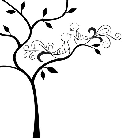 Silhouette of tree with two love birds Illustration