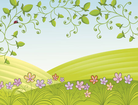 pink hills: Spring landscape with flowers and ladybug