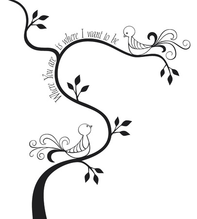 love birds: 2 love birds in a tree with calligraphic text
