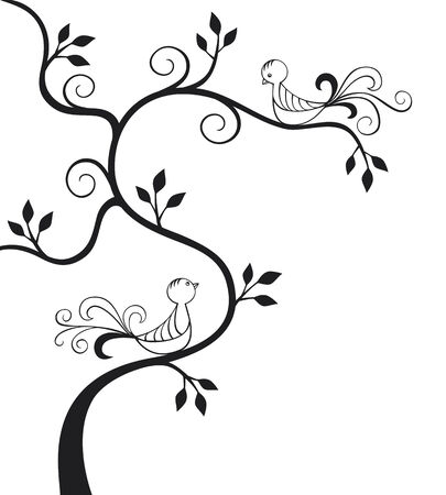 Silhouette of a tree with two love birds Vector
