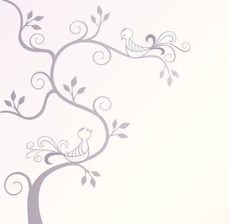 Silhouette of a tree with two love birds