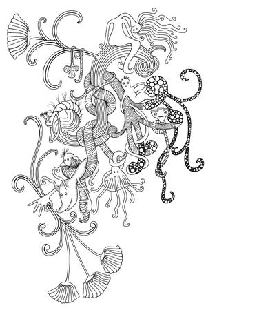 siebziger jahre: Einzigartige und dekorative St�ck Fantasy doodles