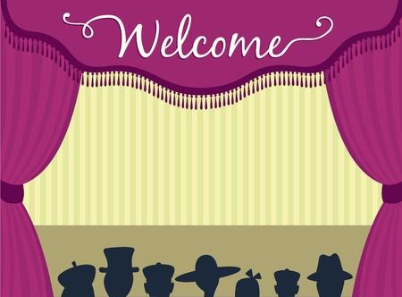 curtain theater: Escenario de teatro con cortinas y audiencia espera