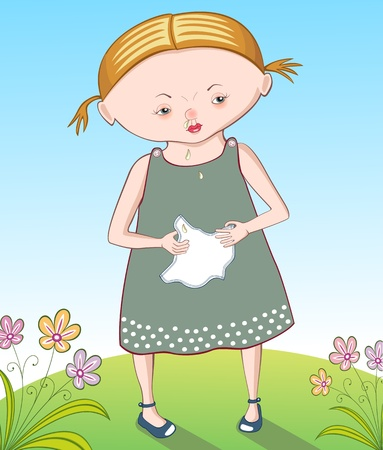 Little girl in summer landscape with a flu holding a handkerchief Vector