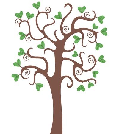Baum mit herzförmige Blätter Vektorgrafik