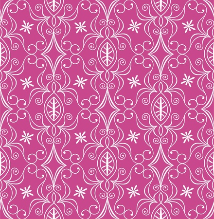 Seamless floaral pattern, white on pink Vector