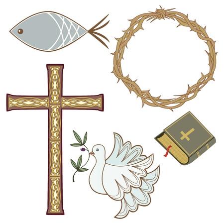 kruzifix: Sammlung von 5 verschiedenen christlichen Symbolen Illustration