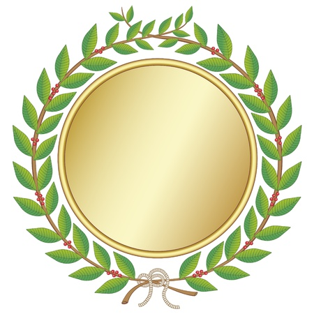 laurel leaf: Laurel wreath with medal