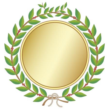 goldmedaille: Lorbeerkranz Medaille Illustration