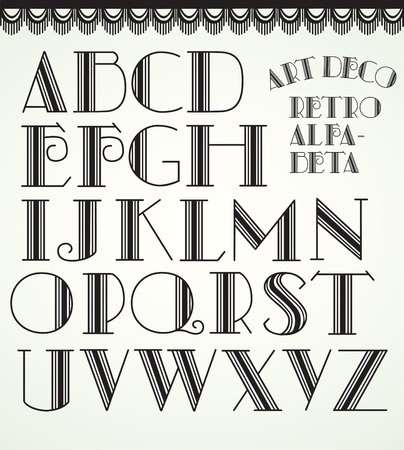 retro type: Art deco alphabet Illustration