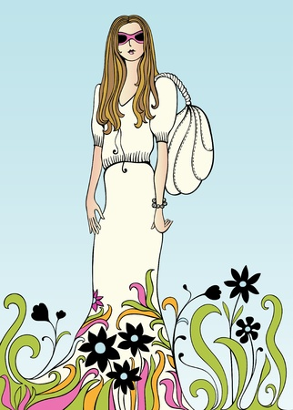 Bautiful girl wearing sunglasses Illustration