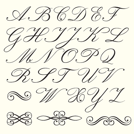 old letters: Hand drawn script alphabet Illustration